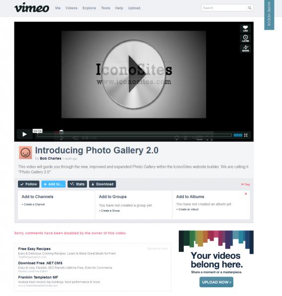 add vimeo to website
