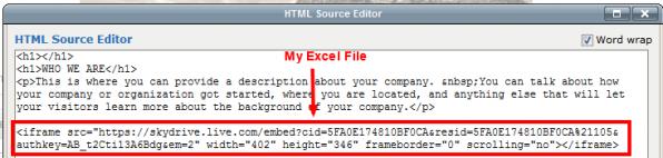 embed html code onto webpage
